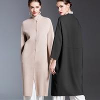 Winter New High End Women's Clothing 2018 Luxury Handmade Double sided Cashmere Overcoat Long Design Elegant Wool Coat Women
