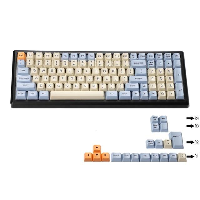YMDK 염료 승화 96 84 ANSI ISO Keyset OEM 두꺼운 PBT Keycap MX 기계식 키보드 멜로디 96 KBD75 FC980M Keychron