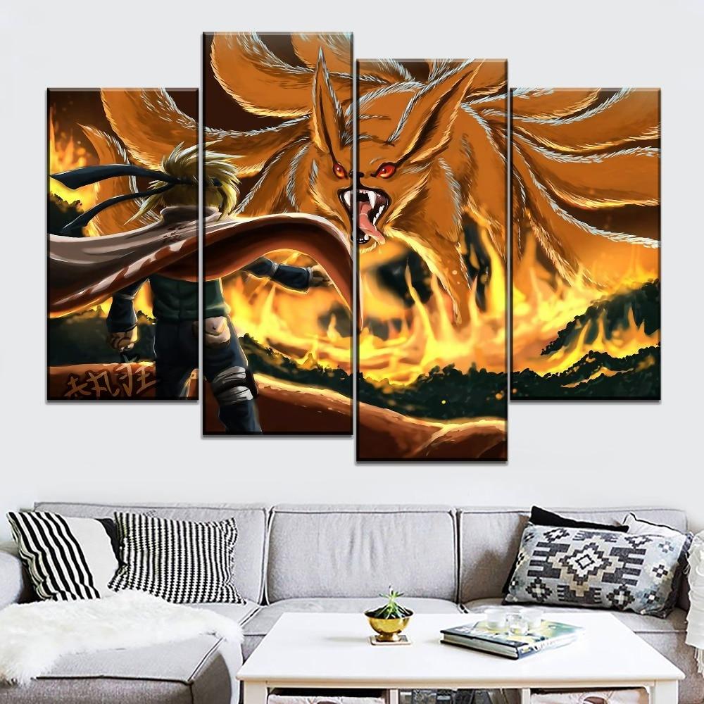 0 Tails Naruto us $3.56 48% off|decoration living room wall hd print poster 4 pcs kurama  naruto uzumaki nine tails canvas painting modern modular anime artwork-in