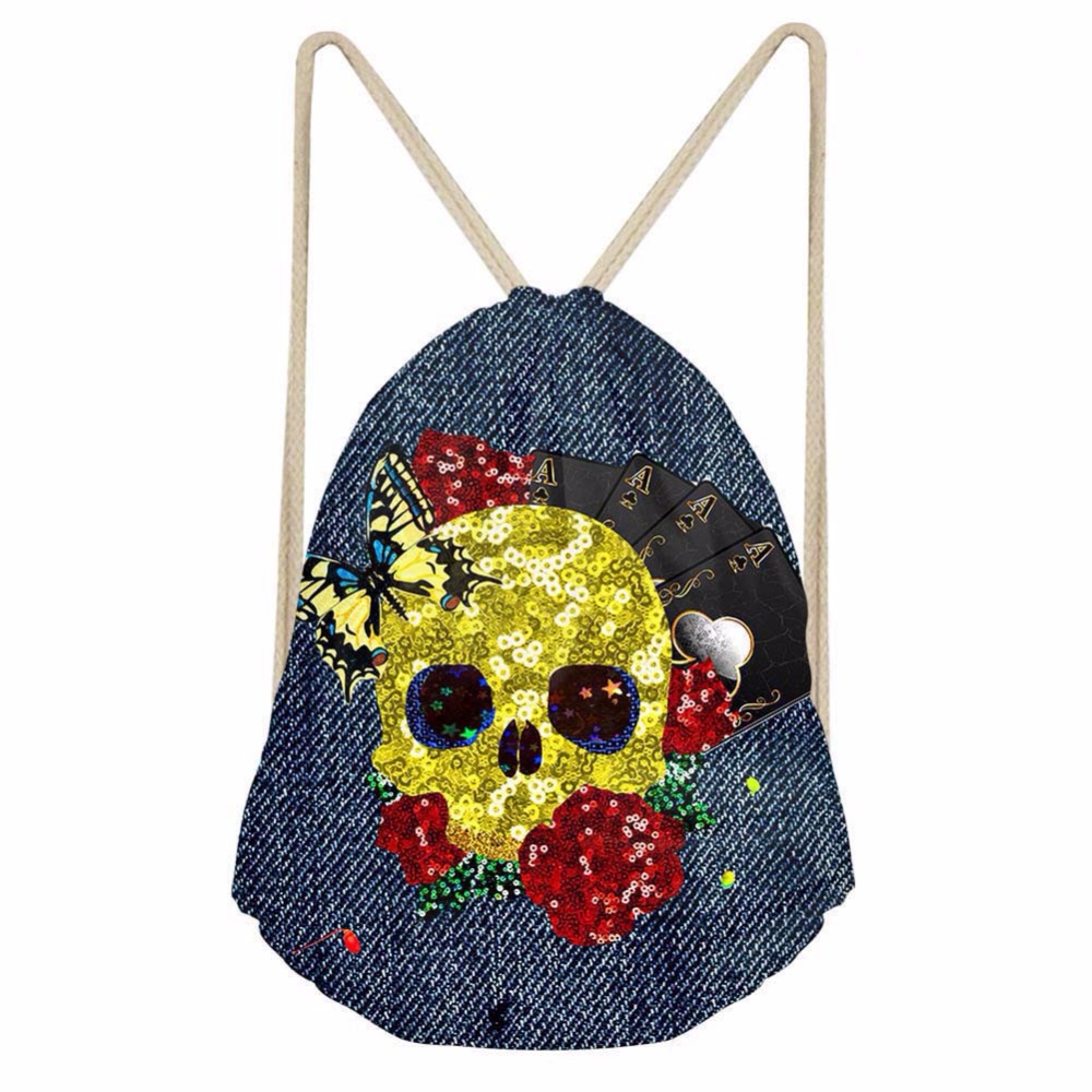 Noisydesigns Drawstring Bags twinkle Skull cool Portable Backpacks Casual String Shoes Pocket Travel Accessories