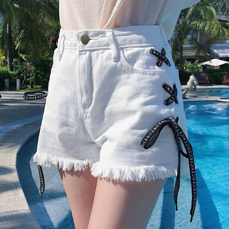 New Design Denim Female Bandage Side Shorts Summer High Waist Shorts  Women Short Jeans Ripped Tassel Short Hotpants Femme S-XL
