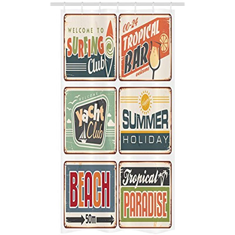 Vixm Retro Stall Shower Curtain Summer Holiday Vintage