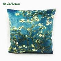 ESSIE NHÀ Van Gogh của Paiting In Kỹ Thuật Số Almond Blossom High End Nhung Mềm Mại Pillow Case Cushion Cover