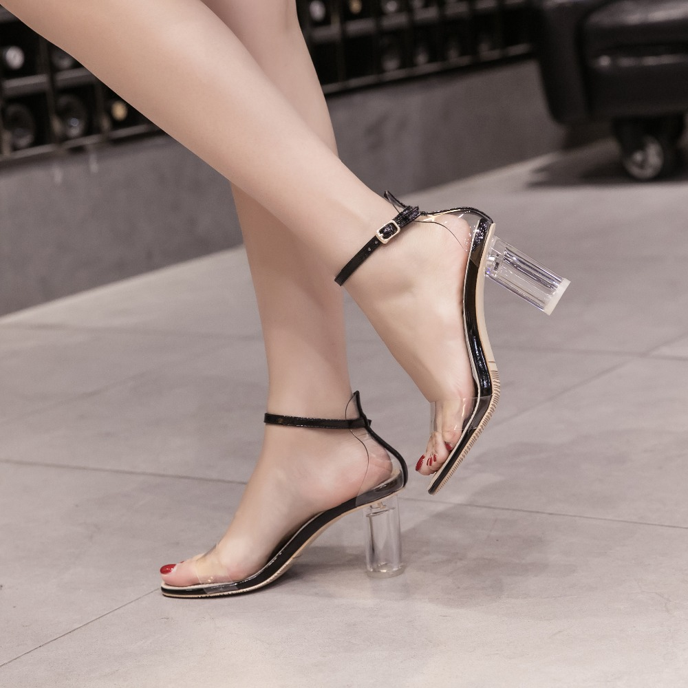 Clear High Heel 8cm Sandals Block Heels Women Shoes Ladies Girl Fashion Summer Open Toe Ankle Strap High Heels Shoes high heels