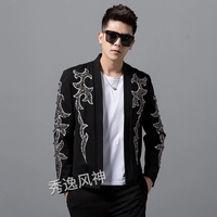 luxury mens beading tuxedo jacket/stage performance jaceket/bar/studio/dance jacket/ASIA SIZE