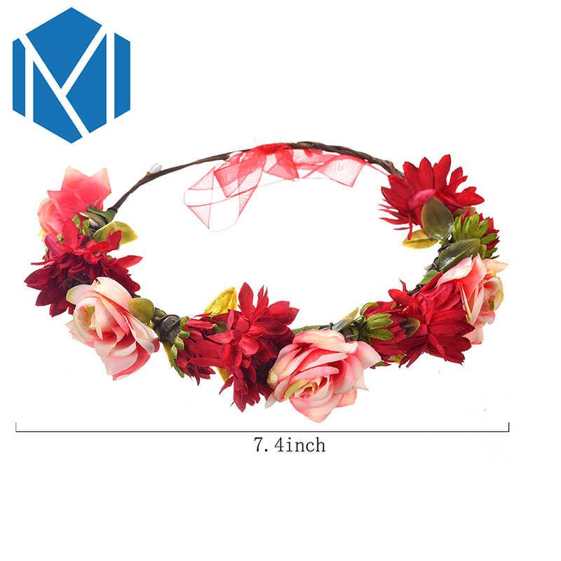М мизм мода свадебный цветок ободок Девушки Женщины подружки невесты гирлянда красивая роза цветочный венок Волосы Резинки аксессуары