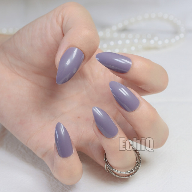 New Full Cover Purplish Grey False Nails Stiletto Sexy Gray Acrylic Nail Tips Artificial Pointed