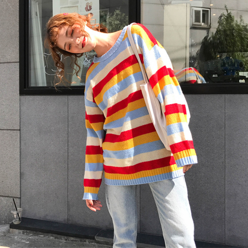 Women's Fashion Sweaters 2018 Autumn Casual Striped Knitted Pullovers O Neck Long Sleeve Knitwear Rainbow Loose Sweaters Jumpers