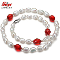 Feige Special Offer Baroque 7 8MM White Freshwater Pearl Choker Necklaces For Women Red Crystal Gargantilla