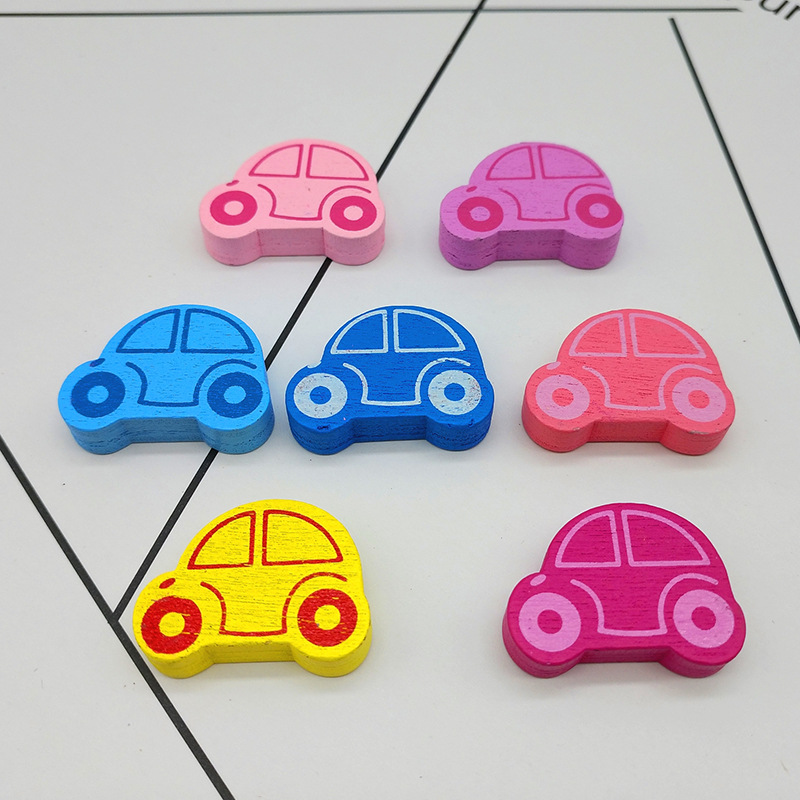 50pcs/lot 25x18mm Wooden Beads Lovely Car Styles Spacer Beading Wood Beads Toys For Baby Kids DIY Wood Craft MR 008