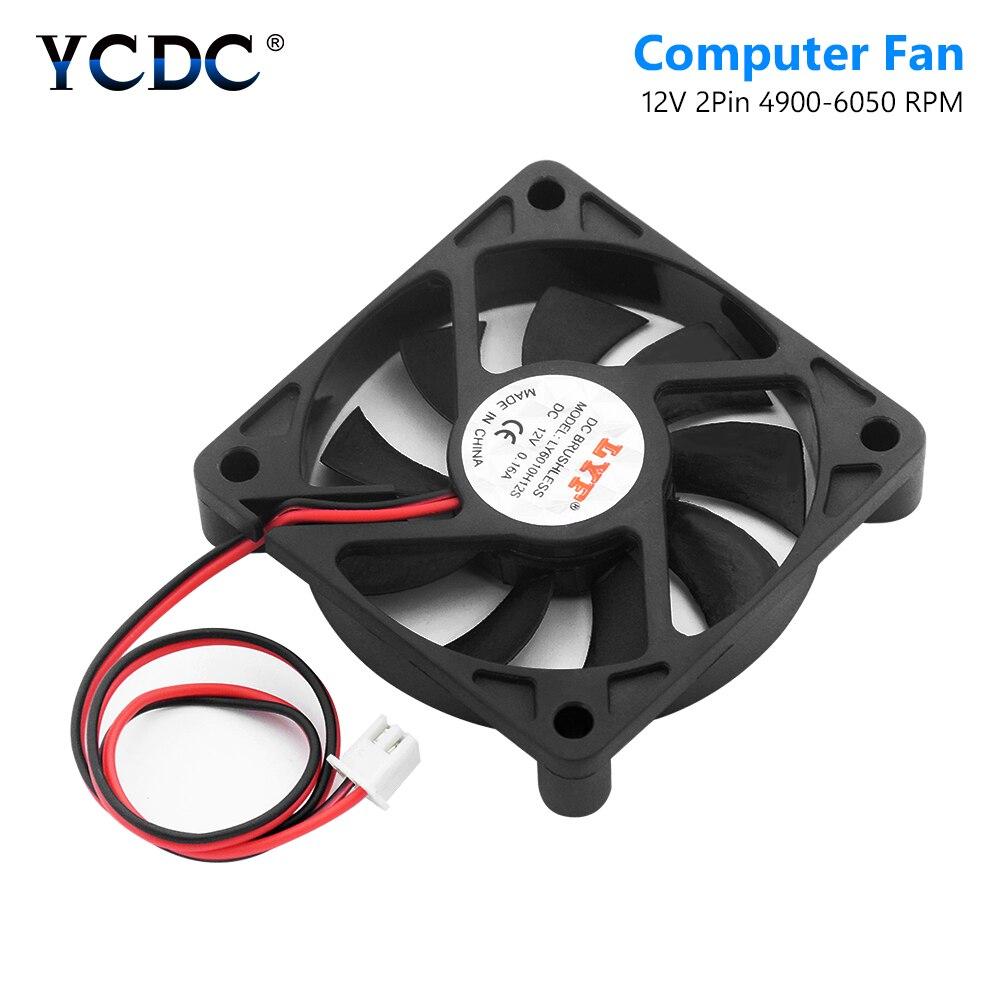 60 X 60 X 12mm 2 Pins 12V DC Cooling Fan Computer PC Case CPU Cooler Case Fan Low Noise CPU Heat Sink Cooler 4900-6050 RPM