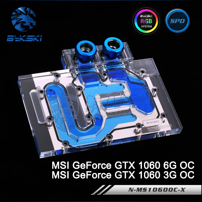 Bykski N-MS1060OC-X Full Cover Graphics Card Water Cooling Block RGB/RBW/AURA for MSI GeForce GTX 1060 6G/3G OC bykski n ms1060dark x full cover graphics card water cooling block rgb rbw aura for msi geforce gtx1060 6g duke