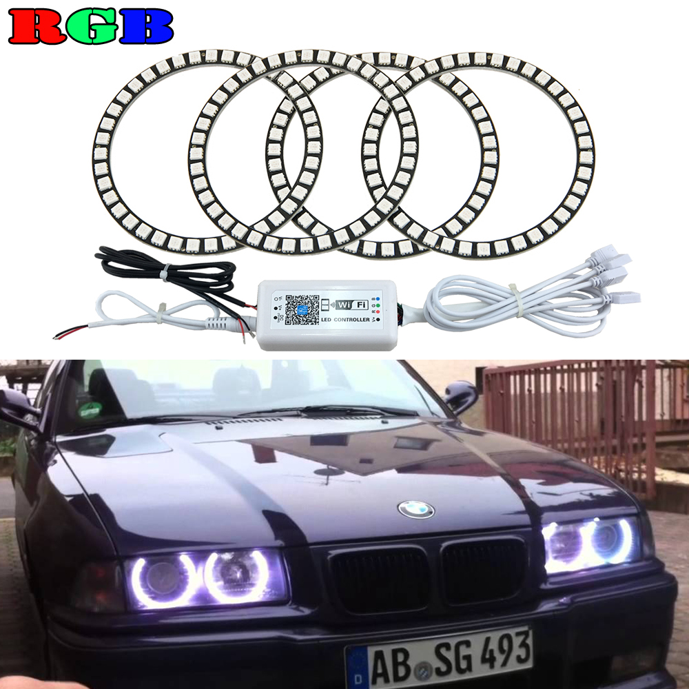 4x 120mm RGB Multi-color Wifi remote control Halo Rings Angel Eyes LED Headlights for BMW E32 E34 E30 12V Light Kits 4x xenon rgb remote multi color led angel eyes kit for bmw e90 2006 2008 e60