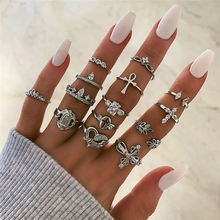 New Women Retro punk rings silver 14pcs ring set girls wedding party Anillo heart cross charm luxury brand fashion jewelry