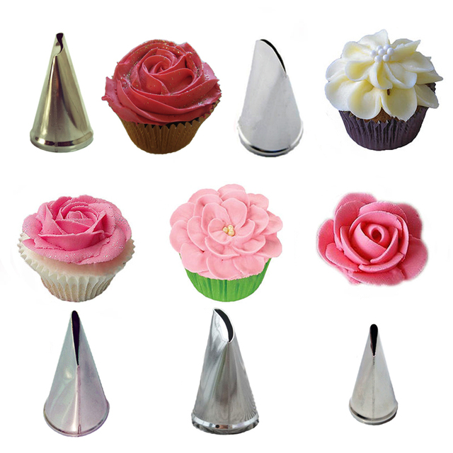 5 PcsSet Rose Petal Cream Tips Cake Decorating Tools Icing Piping Nozzles Cupcake Pastry Tools