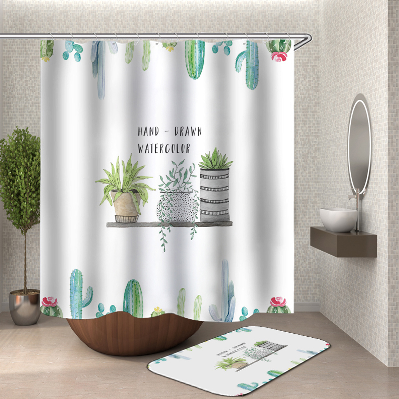 Cactus Shower Curtain Polyester Fabric