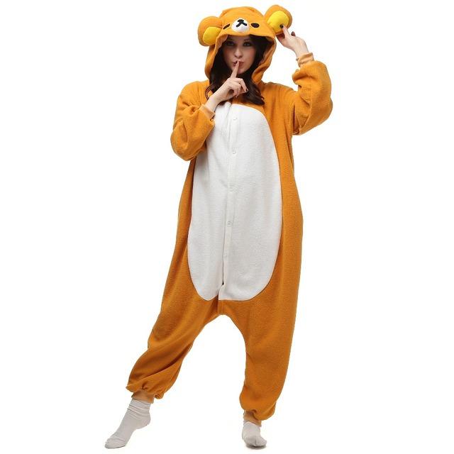 Christmas Halloween Birthday Gift Rilakkuma Relax Bear Fleece Onesie Homewear Hoodie Pajamas Sleepwear Robe For Adults