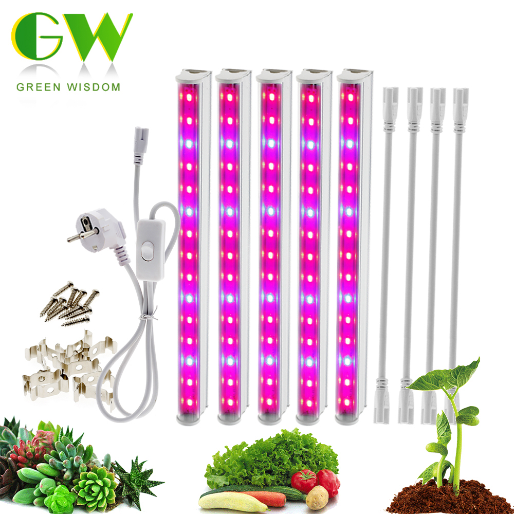 220V 110V LED Grow Light T5 Tube Full Spectrum LED Phyto Lamp Indoor Growth Bar Light For Aquarium Greenhouse Grow Tent 5pcs/lot