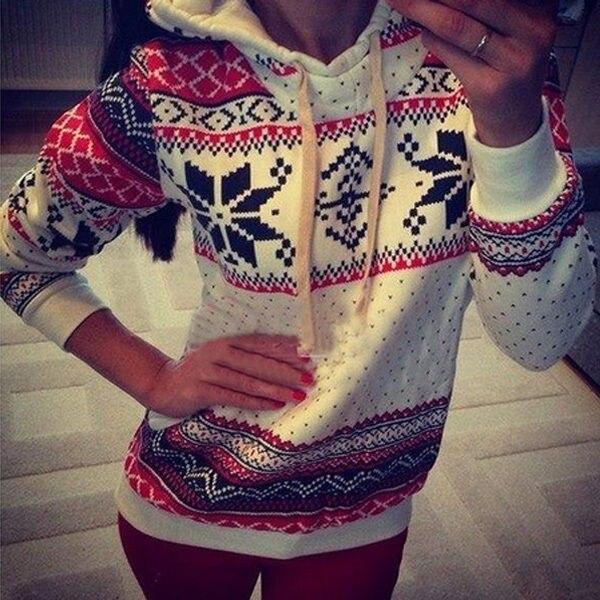 Mulheres Casaco de Moletom Com Capuz Da Camisola Jumper Sweatershirts  Pullover Top Natal Com Capuz Atacado 7c6d1d32a3a