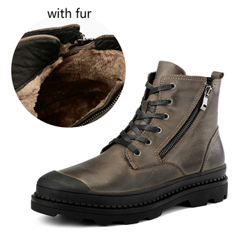 men's fashion large size winter warm plush ankle snow boots high top platform fur boot cow leather cotton tooling shoes zapatos