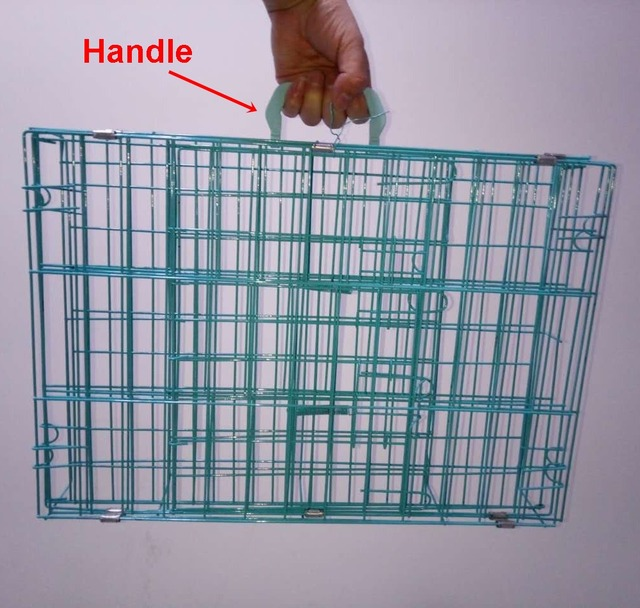 50x35x42cm with handle dog cage pink color and blue color iron steel ...