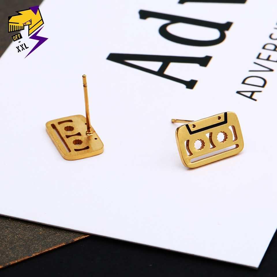 ผู้ชายเทปสแตนเลสหูต่างหูทองสีเงินสีดำเคลือบต่างหูสตั๊ดสำหรับผู้หญิงฮิปฮอปดีเจเพลงเครื่องประดับ