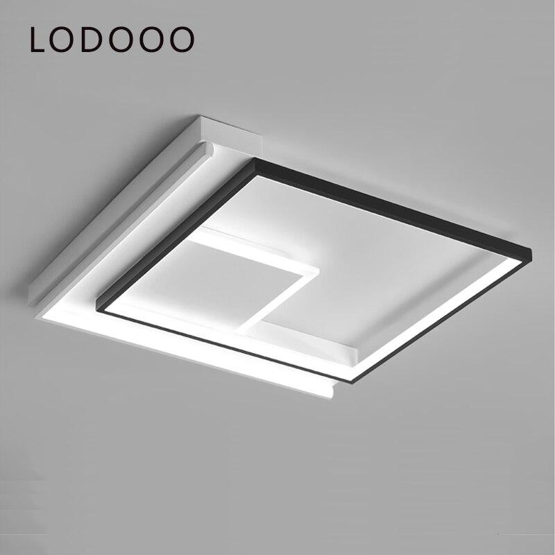 Semplice e moderno camera da letto ha condotto le luci del soffitto quadrato studio personalizzato atmosferica master camera da letto lampada del soffitto Bianco + Nero