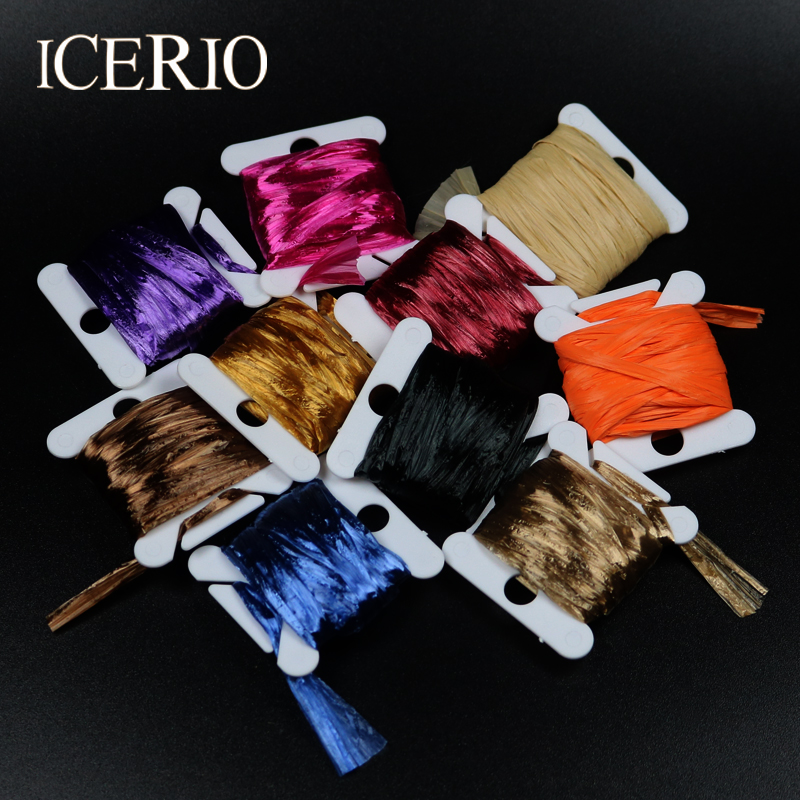 ICERIO 2PCS Fly Fishing Tying Materials Swiss Straw (Raffia) for Tying Wing Cases and Shell Backs on Nymphs and Scud Patterns 5sheets pack 10cm x 5cm holographic adhesive film fly tying laser rainbow materials sticker film flash tape for fly lure fishing
