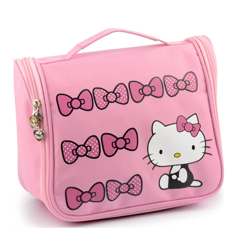 Women Travel Portable Cosmetic Bag Cartoon Hello Kitty Zipper Makeup Bag Organizer Make Up Storage Pouch Toiletry Case spark storage bag portable carrying case storage box for spark drone accessories can put remote control battery and other parts