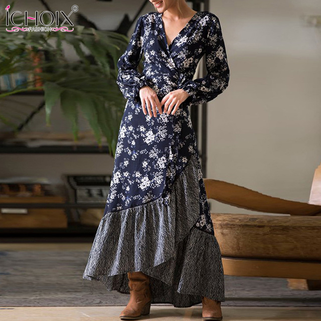 ICHOIX Women Spring Floral Long Dress Elegant Long Sleeve Sexy V Neck Boho  Dresses Autumn Vintage Maxi Dress Bohemian Vestidos 7e8b76ea02a7