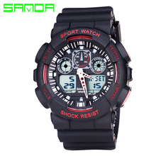 Men Sport Watches Silicone Band Waterproof Military Style Watch Dual Display Watches Digital Watches Relogios Masculinos