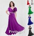 0097 довольно девочка V шея wiht рукав фиолетовый серый королевский синий элегантный ну вечеринку макси вечернее платье длинная