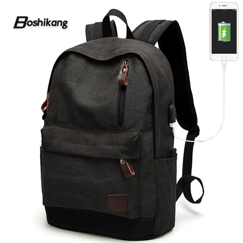 Boshikang Mens Backpack Pure Cotton Canvas Usb Charging Brand College Student School Bags Laptop Travel Backpack For Teenager
