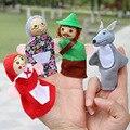 Fantoches de dedo Para Crianças Little Red Riding Hood Brinquedos de Pelúcia Mão Sereia Bonecas Porco Cão Fantoche de Dedo Dos Desenhos Animados Boneca 4 pçs/lote