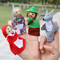 Finger Puppets For Kids Little Red Riding Hood Plush Toys Mermaid Hand Dolls Pig Dog Fantoche  Cartoon Finger Doll 4pcs/lot