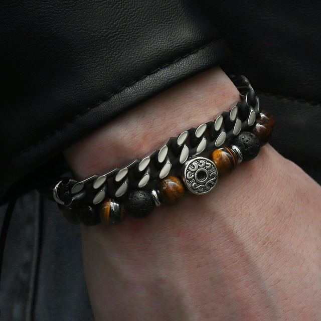 """Unique Natural Tiger Eye Stone Men's Beaded Bracelet Stainless Steel Cuban Link Chain Bracelets Male Gifts Dropshipping 8"""" DLB68"""