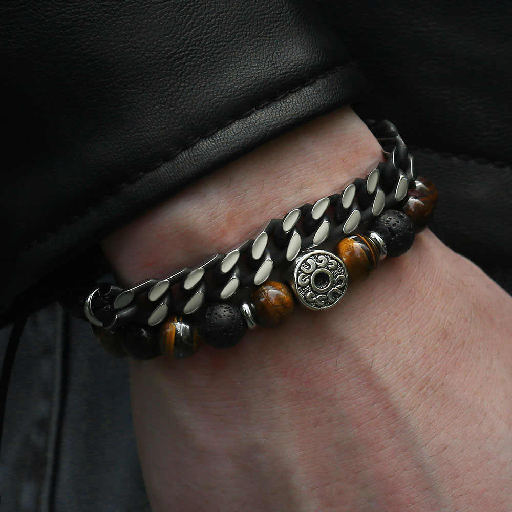 "Unique Natural Tiger Eye Stone Men's Beaded Bracelet Stainless Steel Cuban Link Chain Bracelets Male Gifts Dropshipping 8"" DLB68"