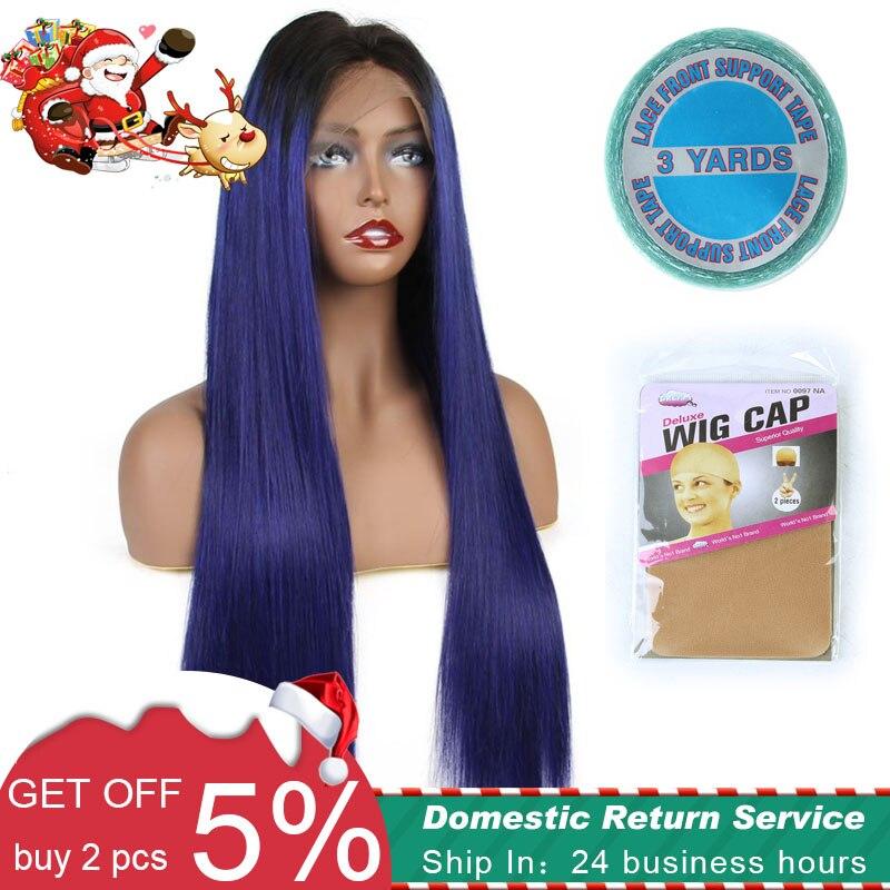 De noël Spercial Offre Lace Front Perruques de Cheveux Humains Brésiliens remy droite 150% Plein 13x6 profonde partie perruque avec bande et cap cadeaux