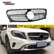 X156 Front Grille Diamond Style for Benz GLA Class Mesh Grill 2014 2015 2016 GLA200 GLA250