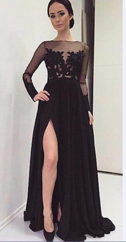 f74e0dcac5be € 88.39 |Venta caliente Sexy Negro Largo Vestidos de Noche de Manga Larga  Delantera hendidura de Encaje de Tul Gasa vestido de fiesta Fomal Vestidos  ...
