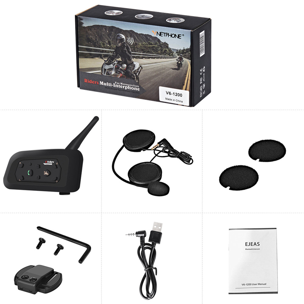Motorcycle Helmet Intercom 1200m Wireless Helmet Headsets Multi Intercomunicador For 6 Riders GPS MP3 Bluetooth Helmet