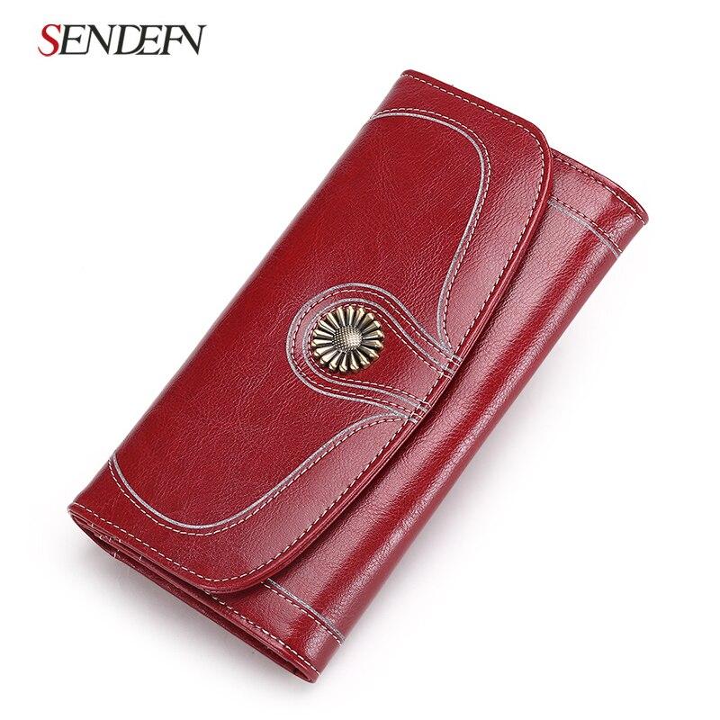 font b 2018 b font New Split Leather Wallet Female Long Clutch Wallet Women Purse