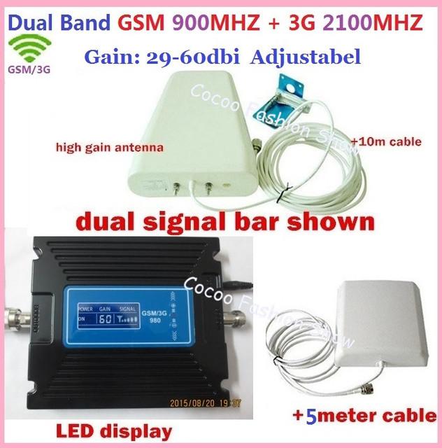 Doble frecuencia gsm 3g amplificador De Señal! GSM 900 3G 2100 Amplificador de Señal Del Repetidor 3G GSM Móvil Celular Repetidor de Señal + Antenas