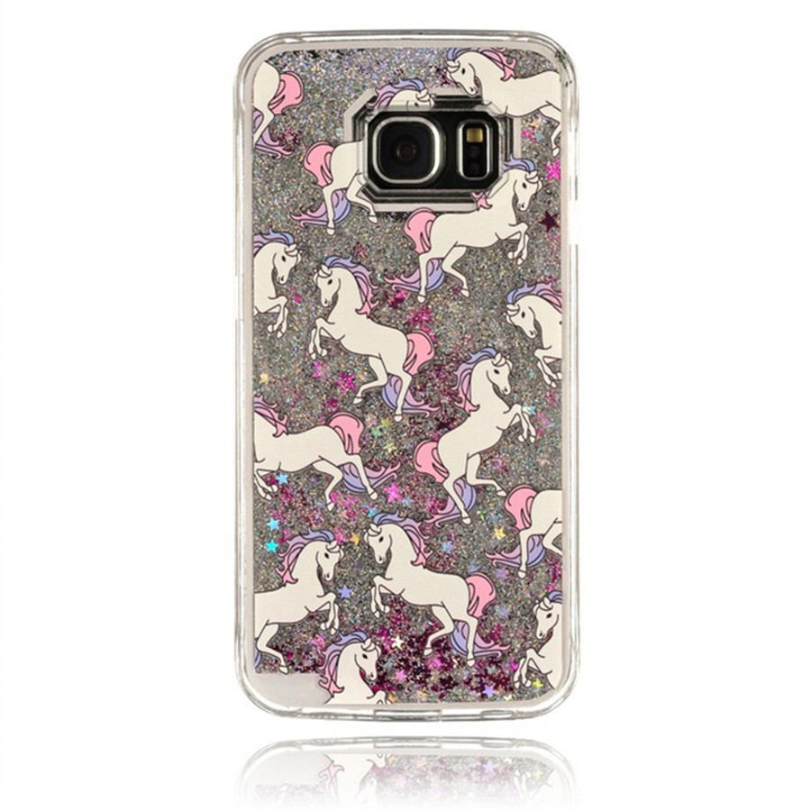 factory price 1426f 41683 US $3.9 |For Samsung Galaxy S7 Edge S7 Unicorn Horse Silver Stars Glitter  Case Dream Catcher Smile Owl Transparent Clear Liquid Cover on ...