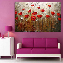 100%Handmade Modern Abstract Decorative Red Flowers Oil Painting On Canvas Wall Art For Living Room Decor