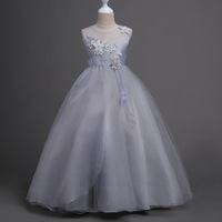Children Clothing 5 6 7 8 9 10 11 12 13 14 Years Kids Glitz Tulle Flower Pageant Gowns Girl Dress Grey White Pink Lavender