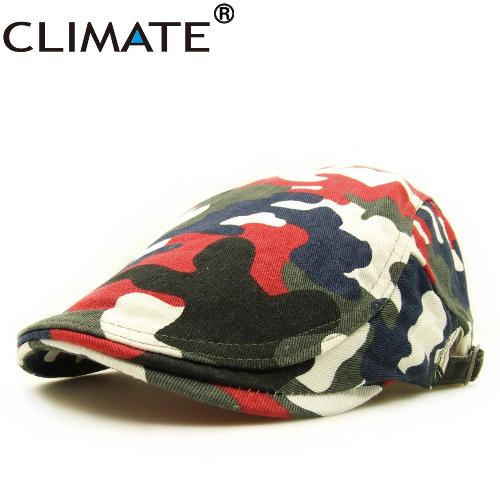 CLIMATE New Spring Cool Military Camouflag Army Cotton Beret Cap Adult Women Men Unisex Adjustable Army Camouflag Flat Caps Hat