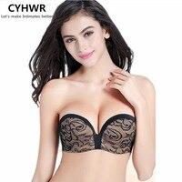 CYHWR No Shoulder Straps Invisible Bra Clothes Non Slip Underwear Women S Half Cup Brush Thin