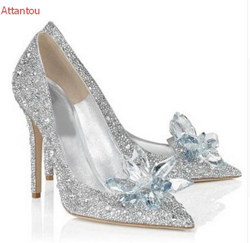 Hot selling rhinestone bride wedding shoes woman glitter crystal pointed toe stiletto heels women pump for party size 34 to 42 2017 new fashion spring ladies pointed toe shoes woman flats crystal diamond silver wedding shoes for bridal plus size hot sale