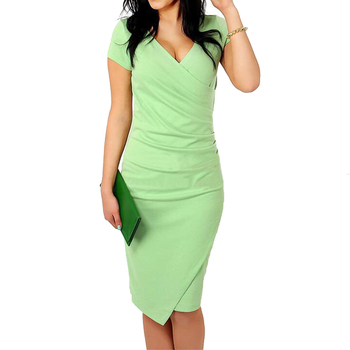FEIBUSHI Summer Dress women Brief Solid Big Size Ladies Office Work Short Sleeve Pencil Bodycon Package Hip Pleated Slim Dress